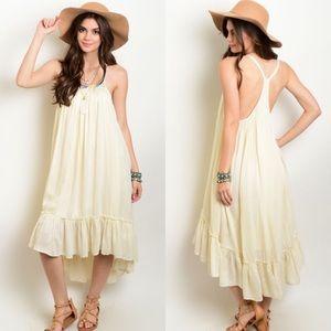 Cream Spaghetti Strap Hi-Low Ruffle Dress