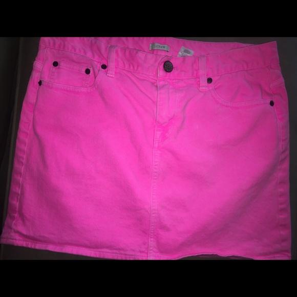b631526ffc J. Crew Skirts | Jcrew Denim Mini Skirt Neon Pink Size 31 | Poshmark