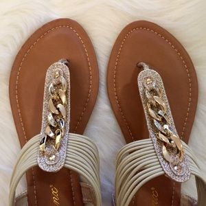 Gold Glitter & Chain Link T-Strap Sandals