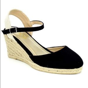 SHOEROOM21 boutique Shoes - Ladies ankle strap buckle, backless wedge. Black