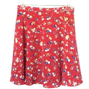 Beautiful red flowered skater skirt