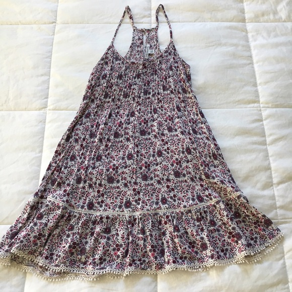 American Eagle Outfitters Dresses & Skirts - American Eagle Burgundy & Pink Floral A-Line dress