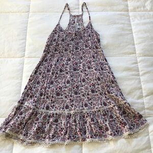 American Eagle Burgundy & Pink Floral A-Line dress