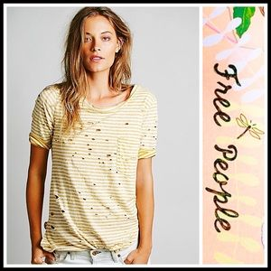 Free People Tops - Free People Striped 'Destroyed' Tunic Tee