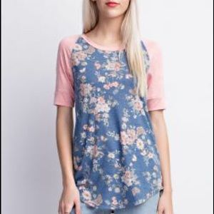 marigold & park Tops - Dusty Pink and Aged Blue Floral Tunic