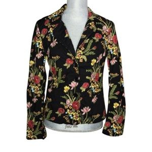 {Johnny Was} Floral Embroidered Button Jacket