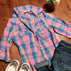 Beautiful Pink Plaid Button Top