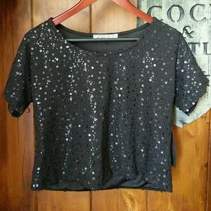 Chloe K Tops - Chloe k black sequin top