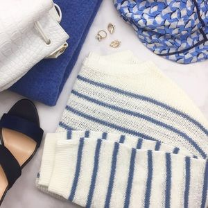 White and Blue Striped Boatneck Sweater