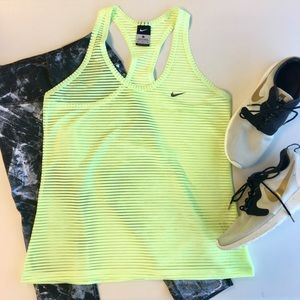 Nike Tops - Nike Neon Yellow Striped Sheer Exercise Tank