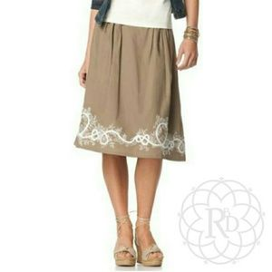 Coldwater Creek Dresses & Skirts - Coldwater Creek Tan Embroidered Border Skirt