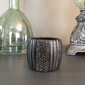  Silver Pewter Jeweled Bracelet