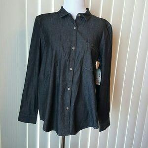 BONGO Tops - BONGO Dark Wash Denim Button Up