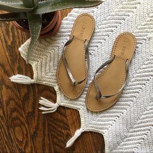 J. Crew Shoes - J. Crew silver Capri Flip Flop Sandals