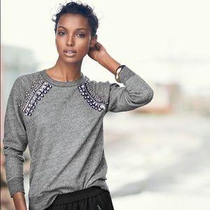 J. Crew Tops - ✨FINAL PRICE✨ Jeweled Raglan Pullover Sweatshirt