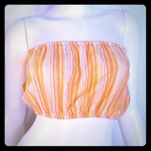 Tops - NWT 70s Vintage Pink &Orange Terry Cloth Tube Top