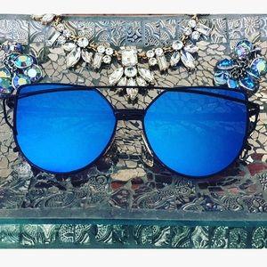 Blue Cateye Mirrored Sunglasses