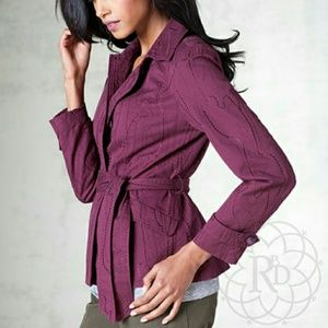 Coldwater Creek  Jackets & Blazers - Coldwater Creek Wine Embroidered Jacket