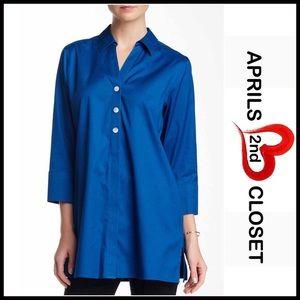 Foxcroft Tops - Button Down Tunic Shirt