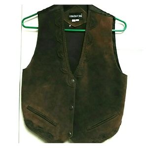 rare Leather vest western style Oklahoma seal M