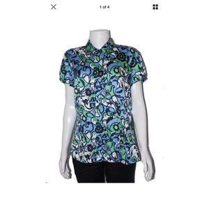 Ann Taylor Tops - Ann Taylor Green & Blue Floral Shirt Sz 14 Plus