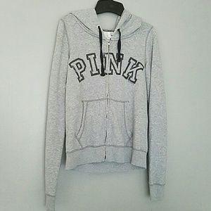 Victoria's Secret Tops - Victoria's Secret PINK Gray Hoodie Zip Up