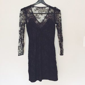 Express black lace fitted evening dress NWT