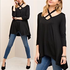 🚨1 HR SALE🚨EMMA asym halter neck tunic top BLACK