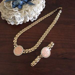 Isis Jewelry - Peach Gem Necklace Bracelet Set
