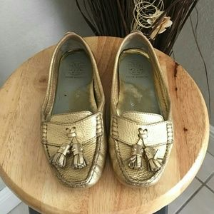 Gold Tory Burch moccasin tassle drivers