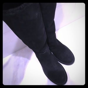 Chanel Black Suede and Shearling Boots
