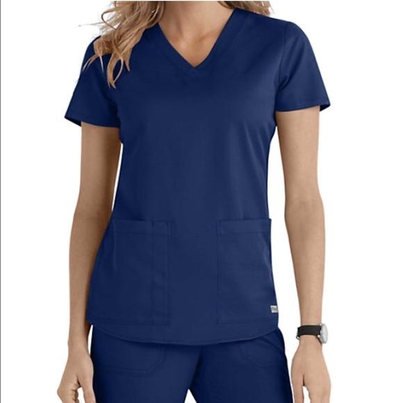 d359ddcaf9e23 Grey's Anatomy Navy Blue Scrub Top