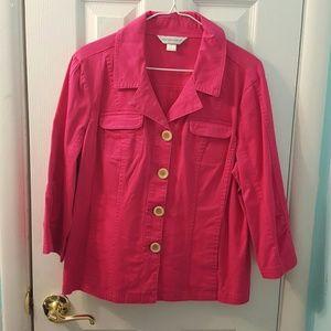 Christopher & Banks Jackets & Blazers - Christopher Banks bright pink button 3/4 sl jacket
