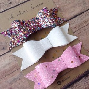 🍋oh dear lemon🍋 Other - Gorgeous Sparkly Glitter Hair Bow Set