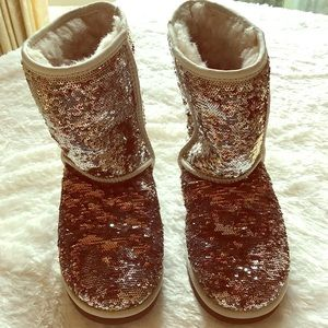 UGG Shoes - UGG Brown-Silver Sequined Boots