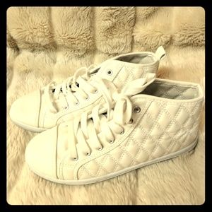 Pinky Shoes - White Quilted Faux Leather Sneakers