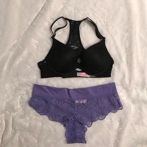 Pink VS black lace bra and panty