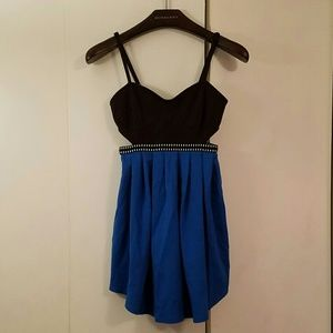Silence + Noise black & blue cutout strappy dress