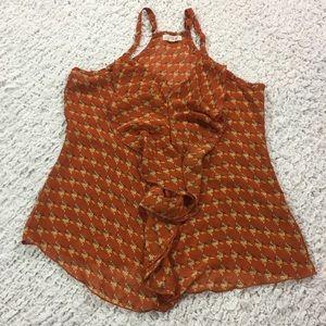 Mine Tops - Mine chiffon ruffle cami blouse M