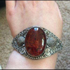Vintage Jewelry - Artisan Amber & Silver Bracelet Cuff