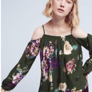 NWT Anthropologie Maeve Tallie Silk Top Floral XS