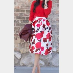 Rose Printed A-line Midi Skirt, NWOT