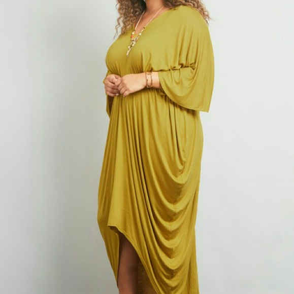 Plus Size Draped Maxi Dress
