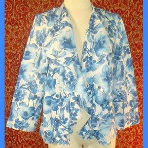 Charter Club Jackets & Blazers - Charter Club blue floral ruffle jacket XL