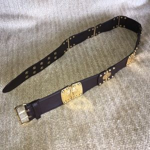 "Alice & Olivia Brown 1 3/4"" Wide Leather Belt"