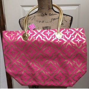 Handbags - Large pink and gold foil Moroccan print!!