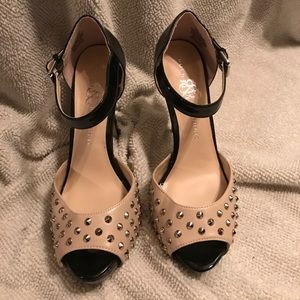 Black and Tan spiked heels