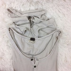 Free People Tops - FREE PEOPLE beige ribbed gwen henley top