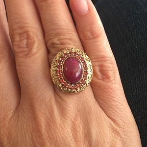 Genuine ruby and garnet 18KGP on 925 silver ring