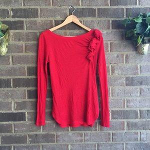 Mango Tops - Red Ruffled Long Sleeve Shirt from MNG